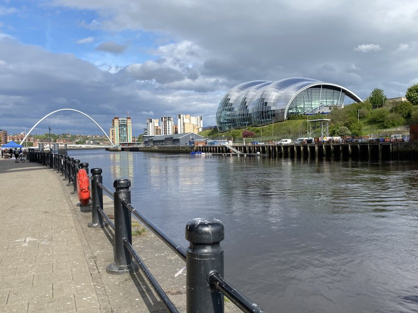 Gateshead Millennium Bridge and Sage Gateshead, both from the Newcastle side