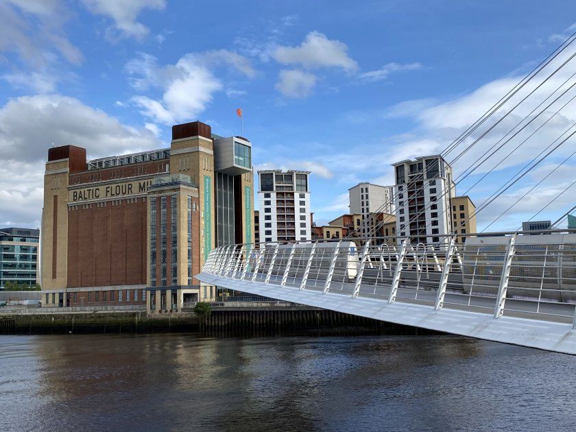 The Millennium Bridge curves its way across to Gateshead