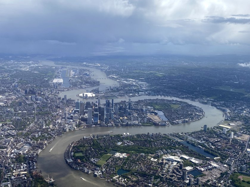 After Durham, more well-known peninsulas: the Isle of Dogs and North Greenwich