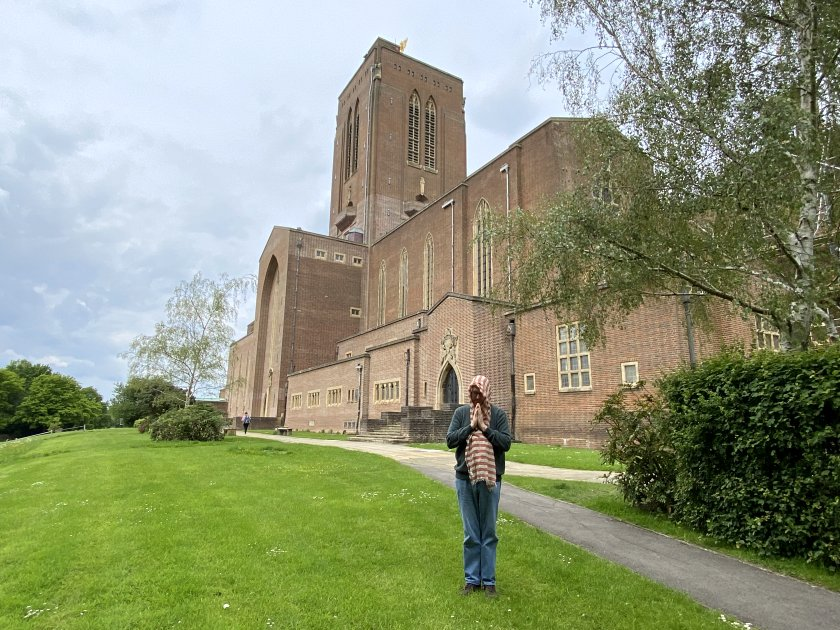 Bruce briefly tries the pious look as we approach the cathedral