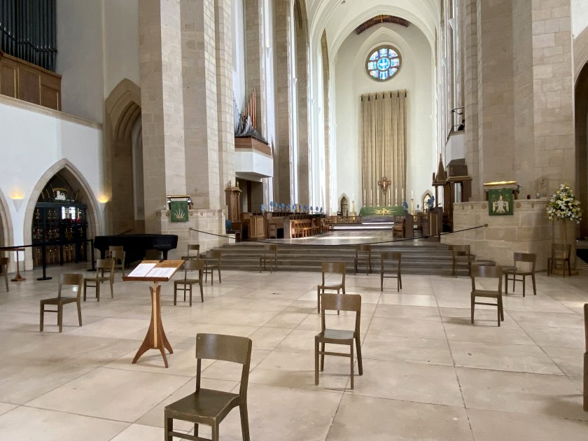 Looking eastwards from the nave