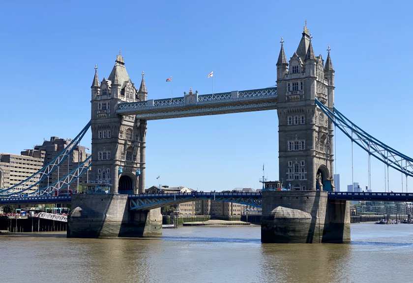 Tower Bridge against a cloudless sky