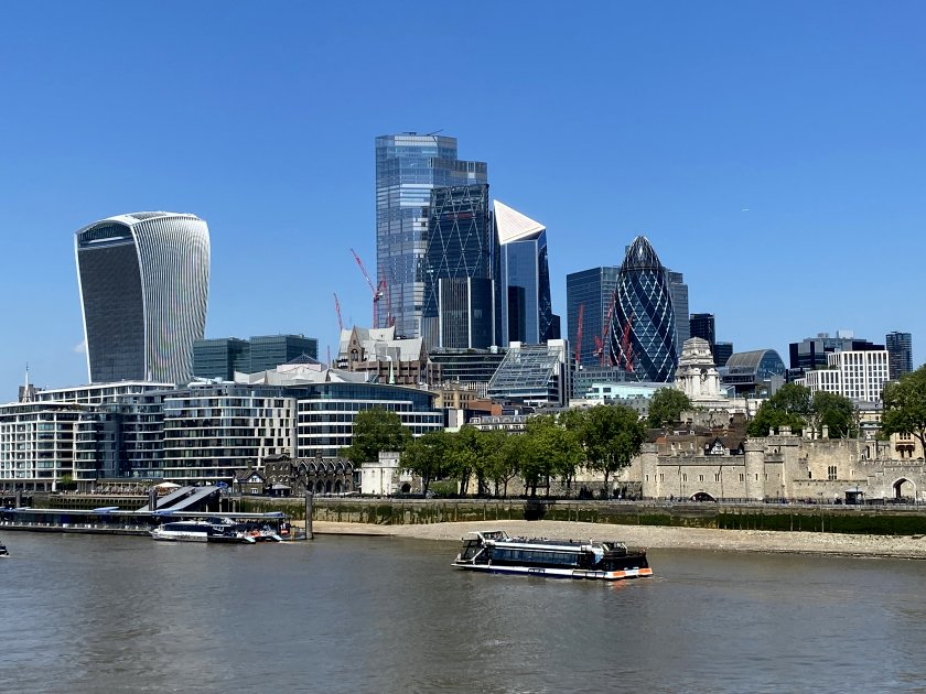 Square Mile skyline and Tower of London