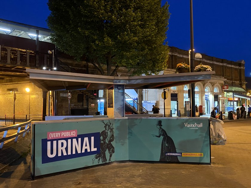 An unusual addition to the station forecourt in this age of closed public toilets