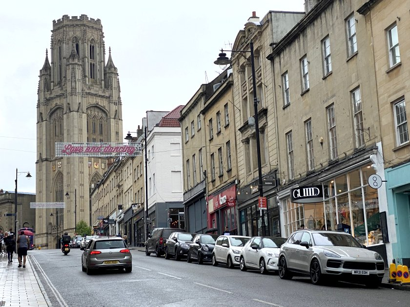 Looking up Park Street to the Wills Memorial Building Tower