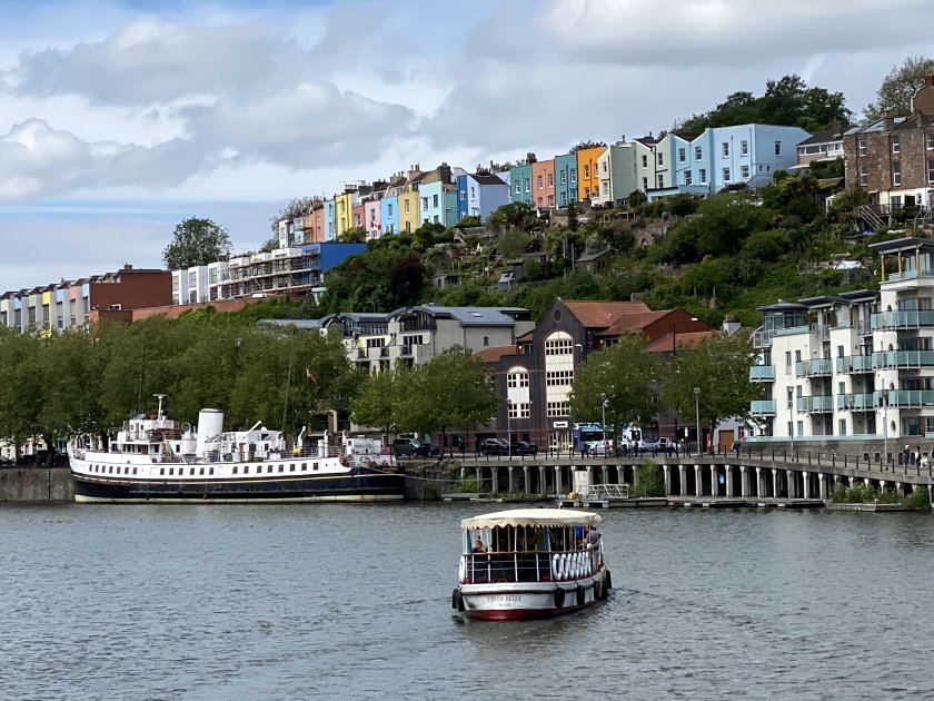 MV Balmoral and some colourful houses in Hotwells