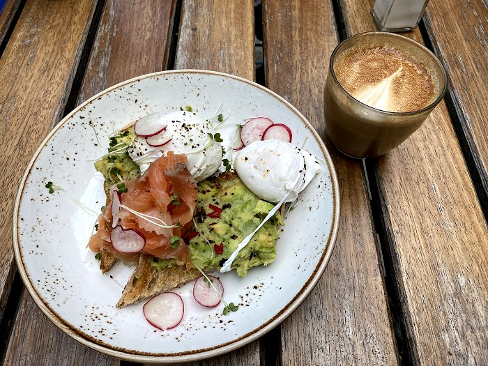Poached eggs with smoked salmon and avocado