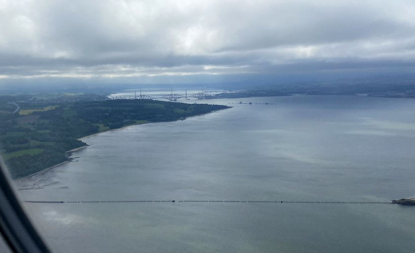Approaching EDI, and it's another estuary, a trio of bridges and a tidal causeway!